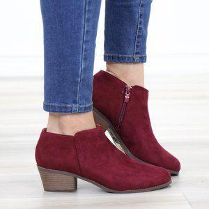 Vegan Suede Fall Color  Burgundy Ankle Booties